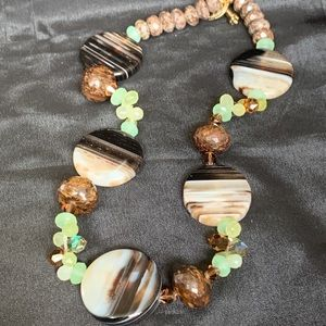 Large Brown & White Agate Bead Necklace